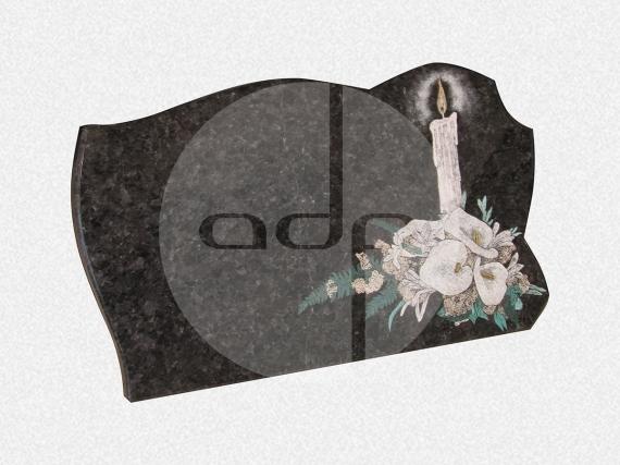 ADPL.13-Lápide em Granito Preto Angola com Pintura Manual
