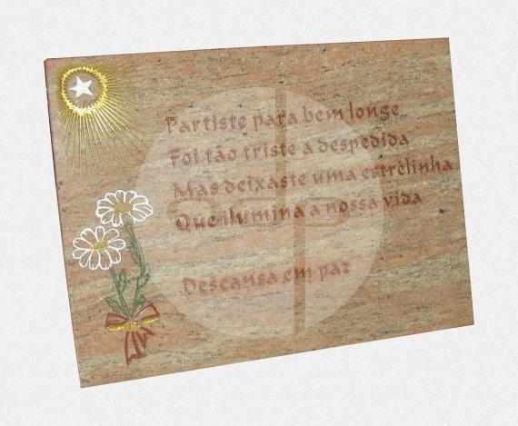 ADPL.14-Lapide em Granito Creme com Gravação e Pintura Manual