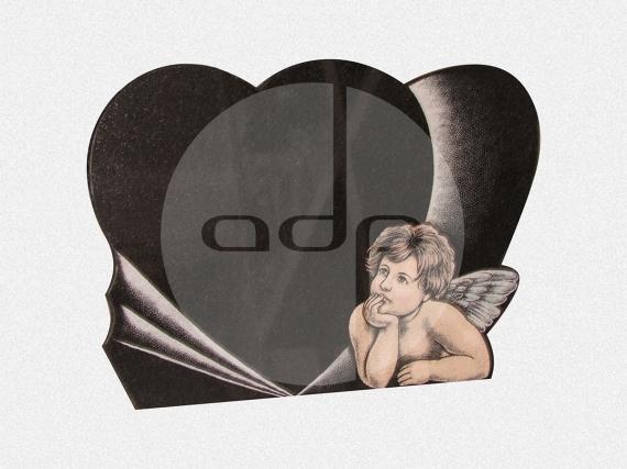 ADPL.15-Lápide em Granito Preto com Gravação e Pintura Manual