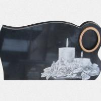 ADPL.16-Lápide em Granito Preto Com Decoração e Pintura Manual