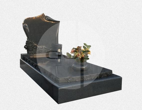 SS11 - Campa em Granito Cinza Sano com Flores Esculpidas
